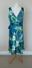 Monsoon Green Blue Cream Floral Devore Silk Mix Kensington Dress Size 14 BNWT