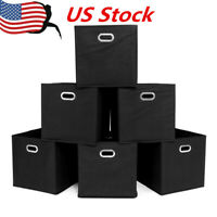 6PCS Foldable Fabric Storage Bins Set of 6 Cubby Cubes with Handles Black US