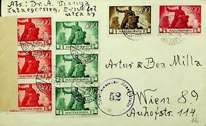 HUNGARY 1946 8v ON POST WWII CENSOR PASSED COVER TO WIEN AUSTRIA