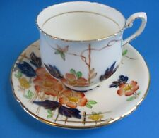 PHOENIX CHINA CUP& SAUCER   OLD   PINK FLOWERS COBALT LEAVES EXCELLENT CONDITION