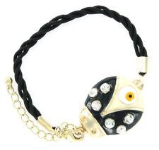 Black Ladybug Evil Eye Enamel & Crystal Braided Charm Bracelet