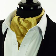 Pure Gold Cream -Paisley -Silk Cravat Scarves Ascot Tie - Floral Saprano -A9