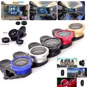 3 in 1 Universal Fisheye Macro Wide Angle Clip Lens Kit Samsung iPhone iPad LOT