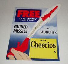 1950's Cheerios NIKE Missile Premium Cereal Box Store Display Sign