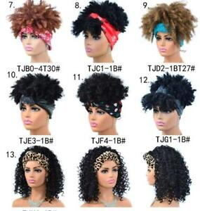 Afro Curly Synthetic Headband Wig Black Heat Safe Dress Wig with Headscarf Short