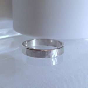 Gorgeous Handmade Solid Sterling Silver Hammer Finish Ring Unique Gift