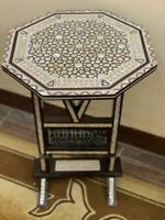 "Egyptian Handmade Wood End Table Inlaid Mother of Pearl (16"")"