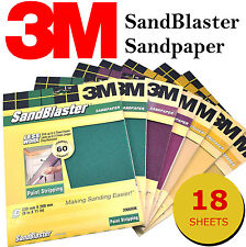 3M Sandblaster Sandpaper Sheets Paint Stripping, Bare Surface (18 Sheets)