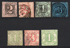 Thurn & Taxis (Germany) 7 Early Stamps Used (some faults)