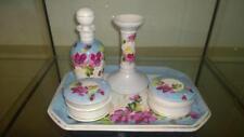 Enchanting Antique Hand Painted Porcelain Dressing Table Set C 1840+