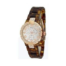 Tortoise Rose Gold Fashion Watch Acrylic Designer Womens Bracelet Style Chrono
