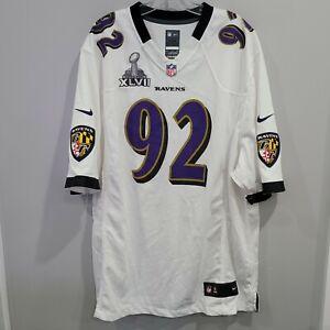 Nike Baltimore Ravens Haloti Ngata 92 Superbowl White Jersey Mens 2XL