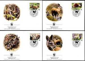 AFGHANISTAN - 2004 WWF 'HIMALAYAN MUSK DEER' First Day Covers x 4 [B1311]
