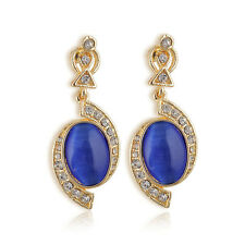Luxury Bright Blue Rhinestone Crystal Ear Drop Stud Dangle Earrings chandelier
