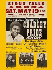 """Charlie Pride Sioux Falls 16"""" x 12"""" Photo Repro Concert Poster"""