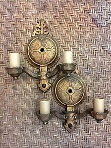 Pair of Antique Tudor Style Two Arm Wall Sconces Gold Patina