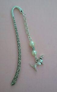 Tibetan Silver Bookmark SAUSAGE DOG/DACHSHUND Ivory Beads - Birthday/Christmas.