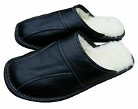 Black Mens Sheepskin Leather Slippers Comfort House  Slip On Shoes UK Size