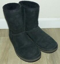 Nice Women's Size 8 UGG Classic Short II Black Leather Suede Sheepskin Boots