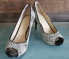 NINE WEST  Size 10 M Shoes Black and White Zebra, Open Toe High Heel Pumps