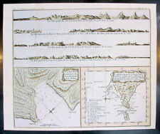 1770 Bellin Antique Map & Views Tierra del Fuego Magellan Straits, South America