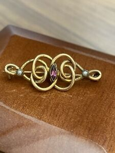 Antique Victorian PinchBeck Brooch With Pearl And Amethyst Stones