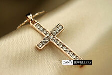 18K Rose Gold Plated Solid Cross Necklace with SWAROVSKI ELEMENTS CRYSTALS N230