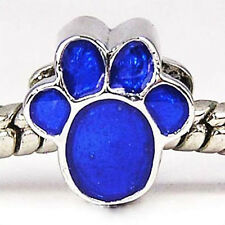 Wholesale 20pcs Blue Dog Paw Silver European Bracelet Spacer Charm Beads D469