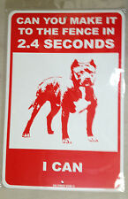 Dog Warning - metal fence sign - Funny - Pitbull - Beware of Dog sign RED 12X18