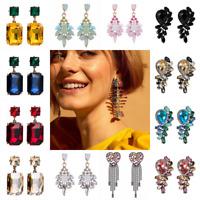 Women Rhinestone Crystal Tassel Earrings Ear Stud Drop Dangle Elegant Jewelry