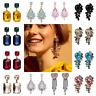 Women Crystal Rhinestone Tassel Ear Stud Drop Dangle Elegant Earrings Jewelry