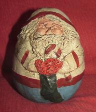 CHRISTMAS SANTA w RON GORDON DESIGNS Sticker Heavy Egg-Shaped FolkArt Style