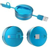 Micro USB 2In1 Retractable Sync Data Charger Adaptor Cable For IPhone/Android