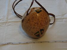 Coconut hard shell bag purse leather Rasta braided VTG vintage carved collect