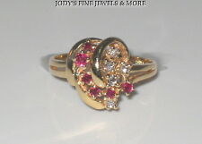MAGNIFICENT ESTATE 14K YELLOW GOLD RUBY & DIAMOND LADIES RING Size 6.25 TRC-D