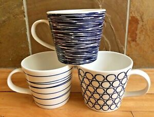NEW! ROYAL DOULTON PACIFIC BLUE & WHITE SET OF 3 COFFEE MUGS + 1