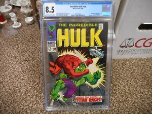 Incredible Hulk 106 cgc 8.5 Marvel 1968 full page add for SILVER SURFER 1 ow/w p
