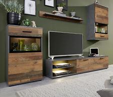 Wohnwand Schrankwand in Used Wood grau Wohnzimmer Anbauwand Vintage Shabby Mango