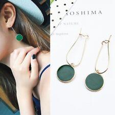Big Long Drop Earrings Gold Green Party Dangle Round Vintage Geometric Elegant