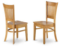 Set of 2 Vancouver dinette kitchen dining chairs w/ plain wood seat in light oak