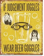 Beer Goggles FUNNY TIN SIGN metal poster wall decor vtg bar alcohol rustic 1828