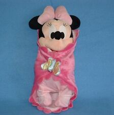 """Disney Babies Minnie Mouse Doll Pink Pajama Security Blanket Butterfly Plush 12"""""""