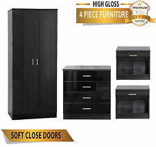 OSSOTTO Black High Gloss 4 Piece Bedroom Furniture Set - Wardrobe Chest Bedside