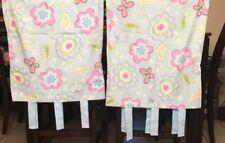 VGUC- Pottery Barn Kids Pillowcases BLUE PINK Flowers Butterflies w/ Ties