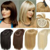 Clip In Natural Thick Topper Hair Piece Extension With Bang Real Straight Blonde