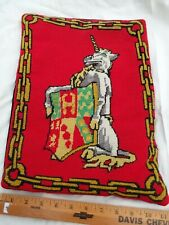 11 X 15 inch Unicorn w/ Shield Chain Red Needlepoint Pillow Antique - Rare Find
