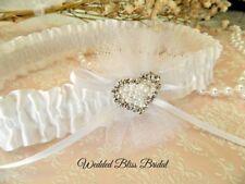 WEDDING GARTER WHITE  SATIN - DIAMANTE PEARL HEART