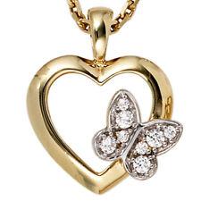 JOBO Anhänger Herz Schmetterling 333 Gold Gelbgold 8 Zirkonia Herzanhänger