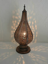lámpara de mesita de noche cabecera marroquí hierro patinado farolillo candelero
