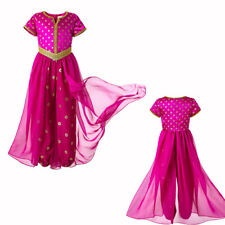 Girls Jasmine Princess Halloween Costume Cosplay Party Dress Up Outfits Age 4-10